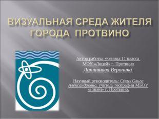 Автор работы: ученица 11 класса МОУ «Лицей» г. Протвино Лапшинова Вероника На