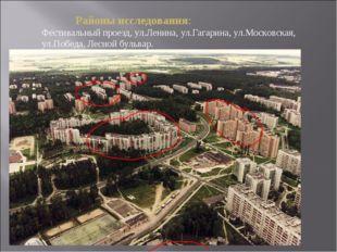 Районы исследования: Фестивальный проезд, ул.Ленина, ул.Гагарина, ул.Москов