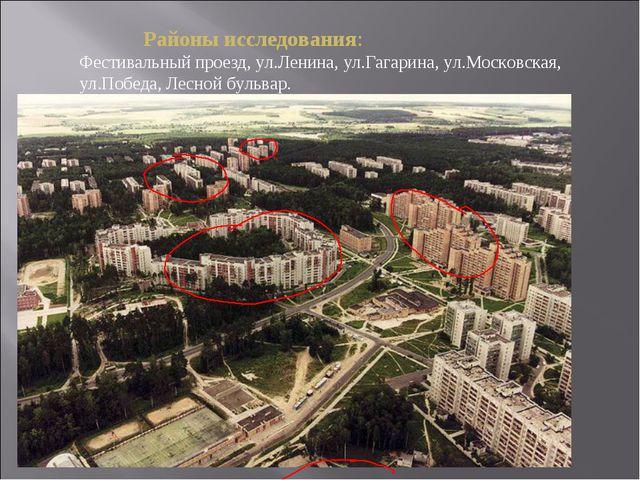 Районы исследования: Фестивальный проезд, ул.Ленина, ул.Гагарина, ул.Москов...