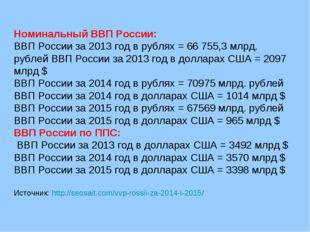 Номинальный ВВП России: ВВП России за 2013 год в рублях= 66 755,3 млрд. рубл