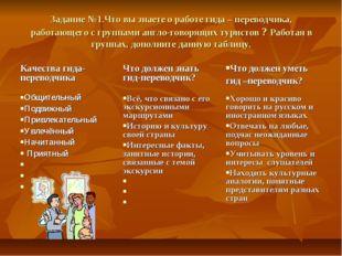 Задание №1.Что вы знаете о работе гида – переводчика, работающего с группами