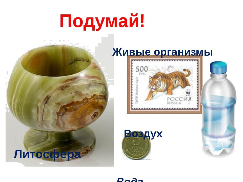 Литосфера Воздух Живые организмы Вода Подумай!