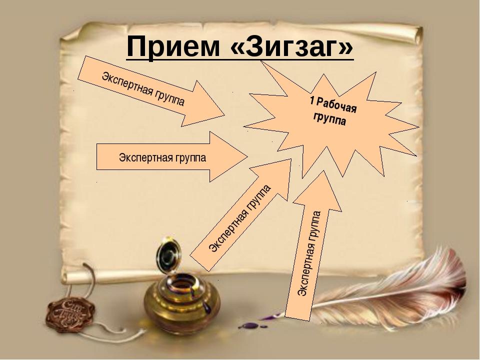 Прием «Зигзаг» 1 Рабочая группа Экспертная группа Экспертная группа Экспертна...