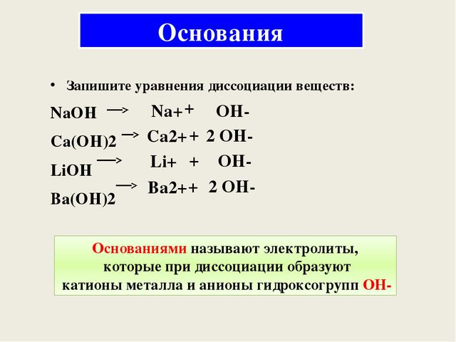 Основания Запишите уравнения диссоциации веществ: NaOH Ca(OH)2 LiOH Ba(OH)2 N...