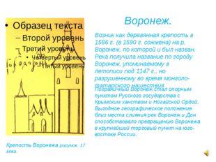 Воронеж. Возник как деревянная крепость в 1586 г. (в 1590 г. сожжена) на р. В