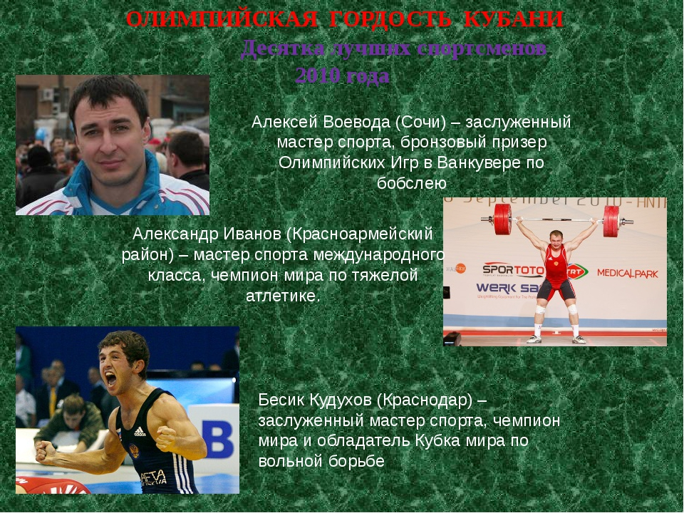 ОЛИМПИЙСКАЯ ГОРДОСТЬ КУБАНИ Десятка лучших спортсменов 20...
