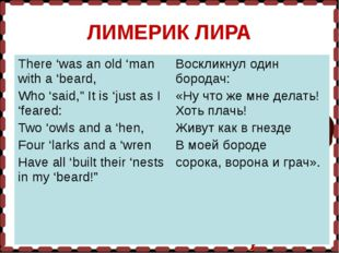 "ЛИМЕРИК ЛИРА There 'was an old 'man with a 'beard, Who 'said,"" It is 'just as"