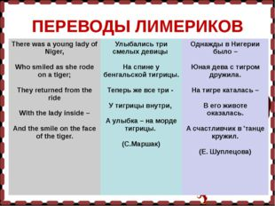 ПЕРЕВОДЫ ЛИМЕРИКОВ There was a young lady of Niger,   Who smiled as she rode
