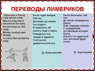 ПЕРЕВОДЫ ЛИМЕРИКОВ There was a Young Lady whose nose, Was so long that it re
