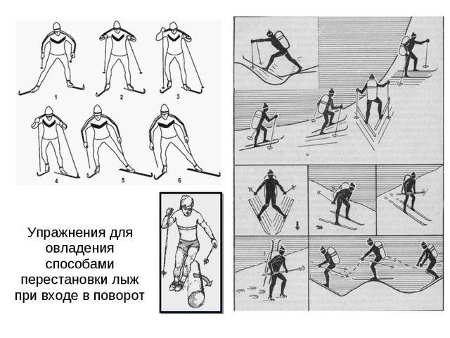 Упражнения для овладения способами перестановки лыж при входе в поворот