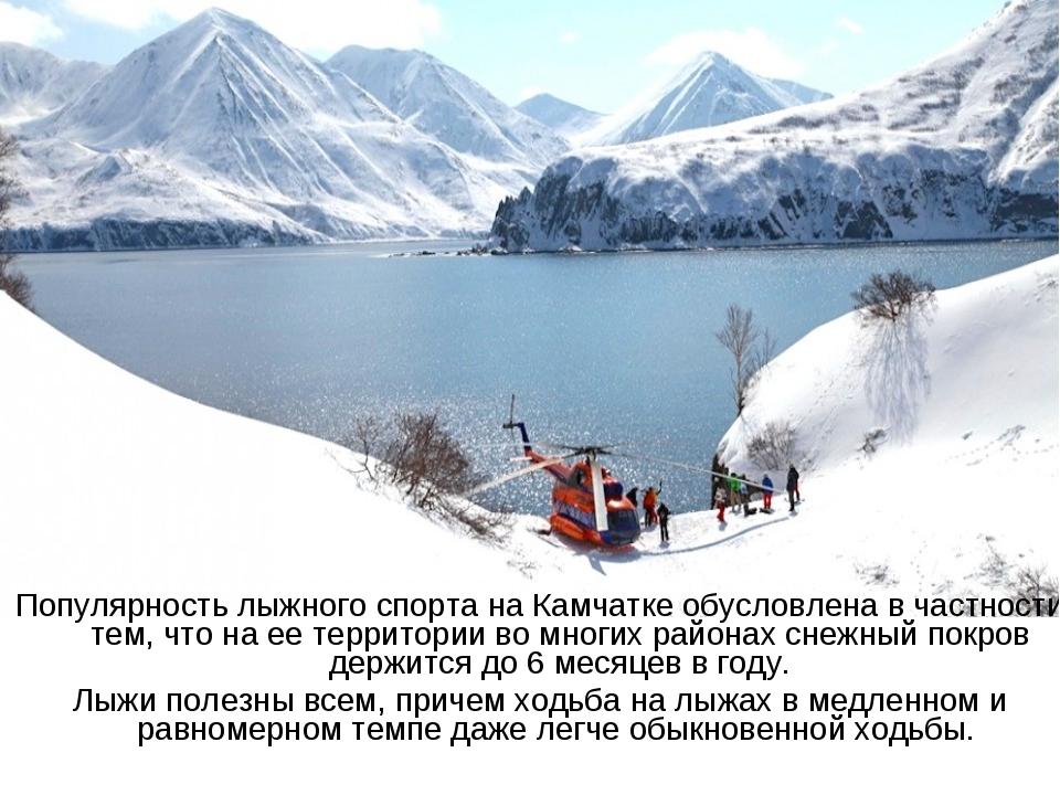 Популярность лыжного спорта на Камчатке обусловлена в частности тем, что на е...