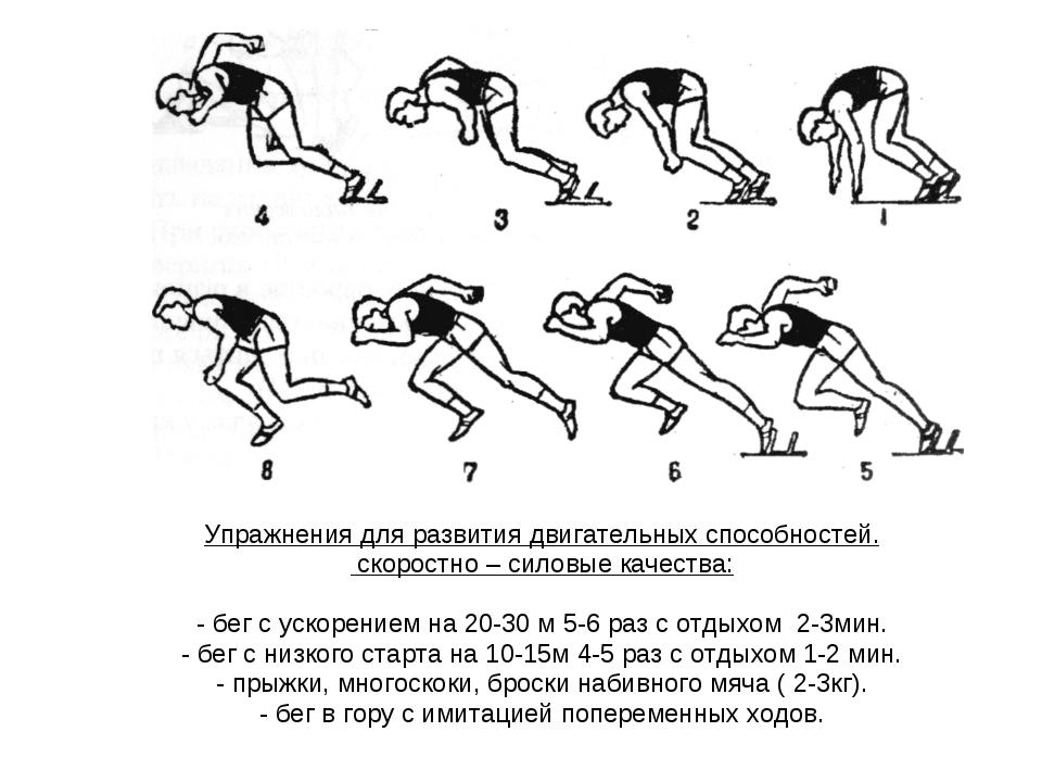 Упражнения для развития двигательных способностей. скоростно – силовые качест...