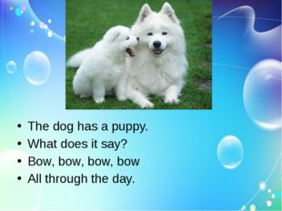 The dog has a puppy. What does it say? Bow, bow, bow, bow All through the day.