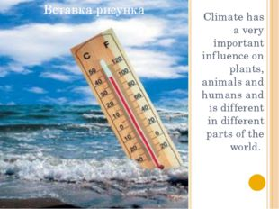 Climate has a very important influence on plants, animals and humans and is