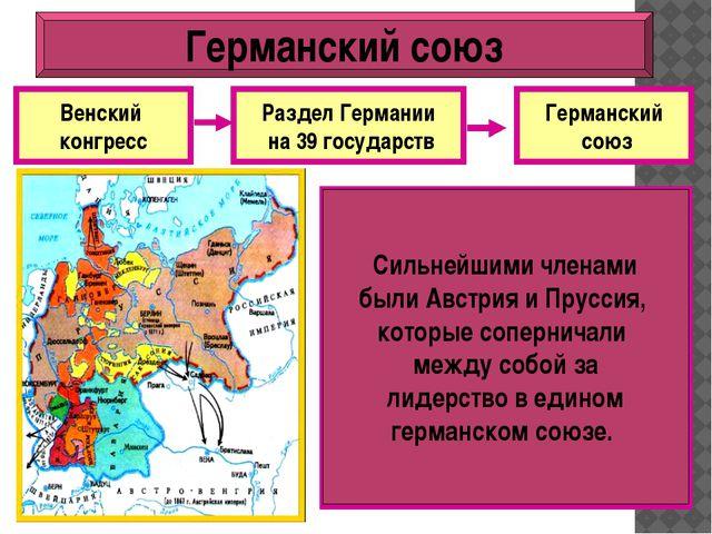 Венский конгресс Раздел Германии на 39 государств Германский союз Почему Герм...