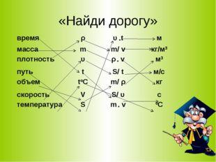 «Найди дорогу» времяρυ *tм массаmm/ vкг/м3 плотностьυρ * vм3 путьt