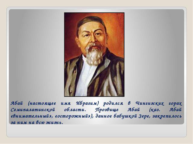 Абай (настоящее имя Ибрагим) родился в Чингизских горах Семипалатинской облас...