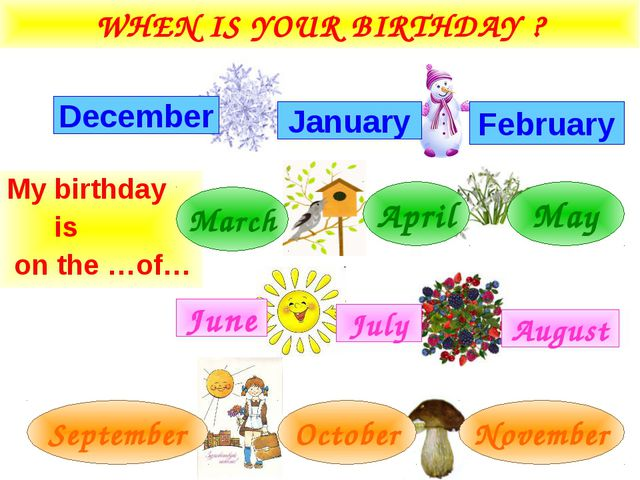 WHEN IS YOUR BIRTHDAY ? My birthday is on the …of… February December January...