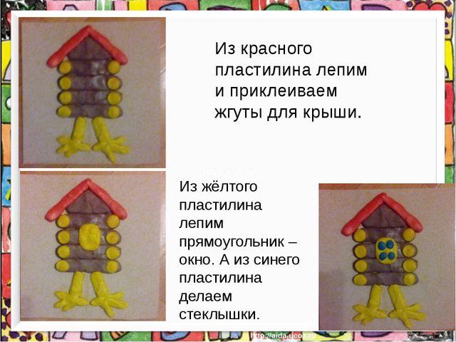 Из красного пластилина лепим и приклеиваем жгуты для крыши. Из жёлтого пласт...