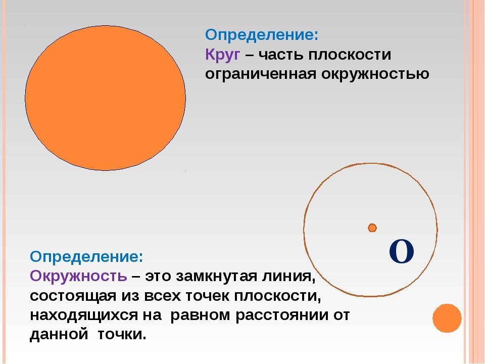 О Определение: Окружность – это замкнутая линия, состоящая из всех точек пло...