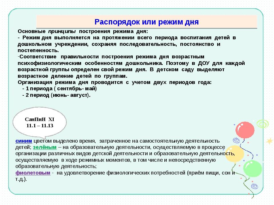 Распорядок или режим дня Основные принципы построения режима дня: - Режим дня...