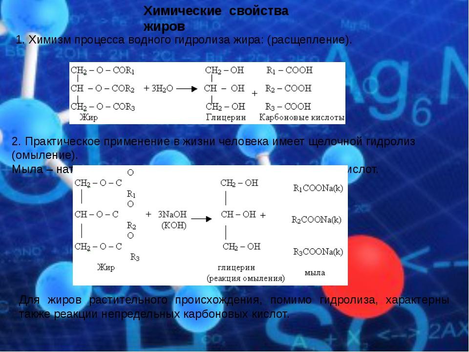Химические свойства жиров 1. Химизм процесса водного гидролиза жира: (расщепл...
