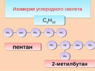 Изомерия углеродного скелета СН3 СН2 СН2 СН2 СН3 СН2 СН СН3 С5Н10 пентан 2-м