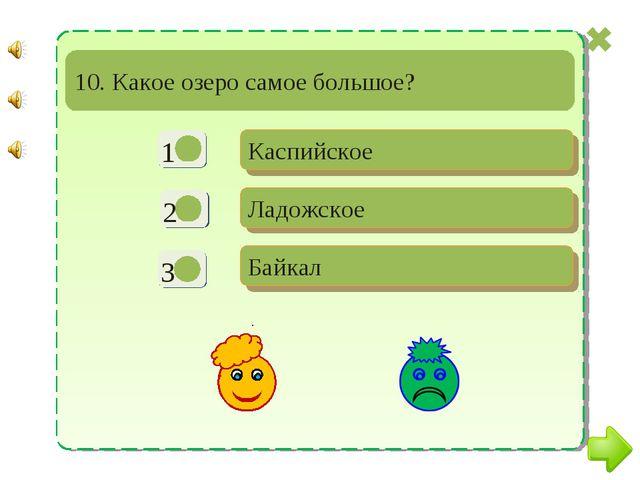 - + - Каспийское Ладожское Байкал 10. Какое озеро самое большое?