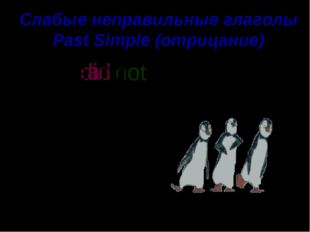 Слабые неправильные глаголы Past Simple (отрицание) They well. a i did not s ng