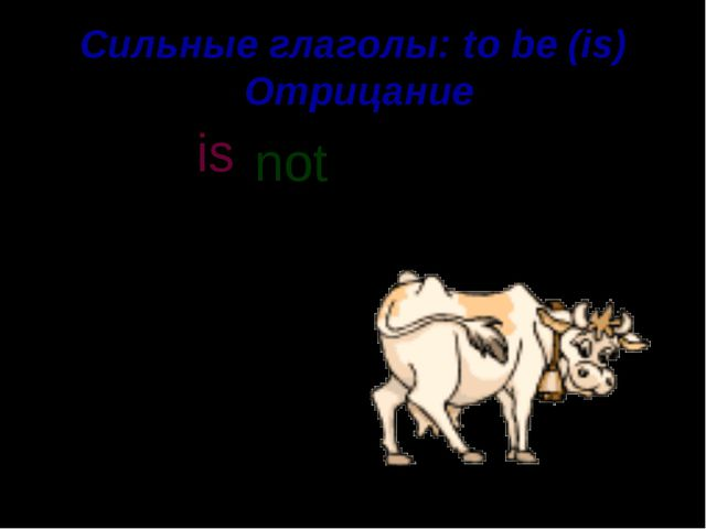 Сильные глаголы: to be (is) Отрицание A cow is a domestic animal. not is n o...