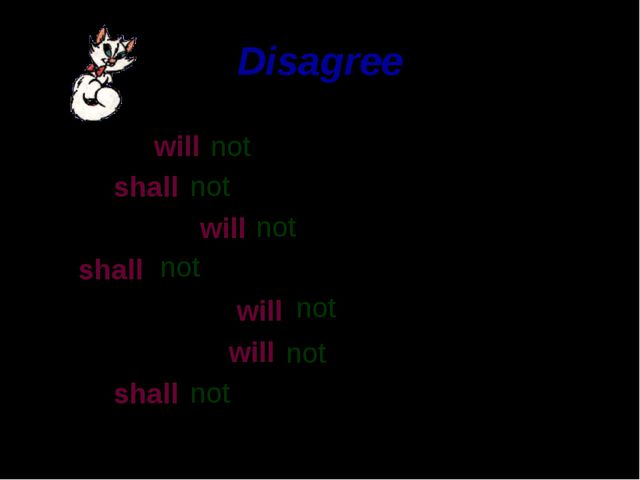 Disagree My cat will We shall Our family will I shall The elephant will The o...