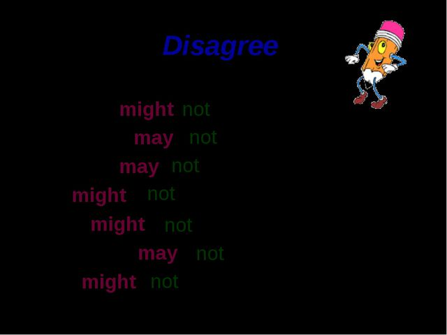 Disagree The dog might Her friend may The bird may He might They might The pu...