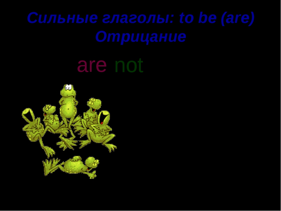 Сильные глаголы: to be (are) Отрицание Frogs are green. not are n o t '