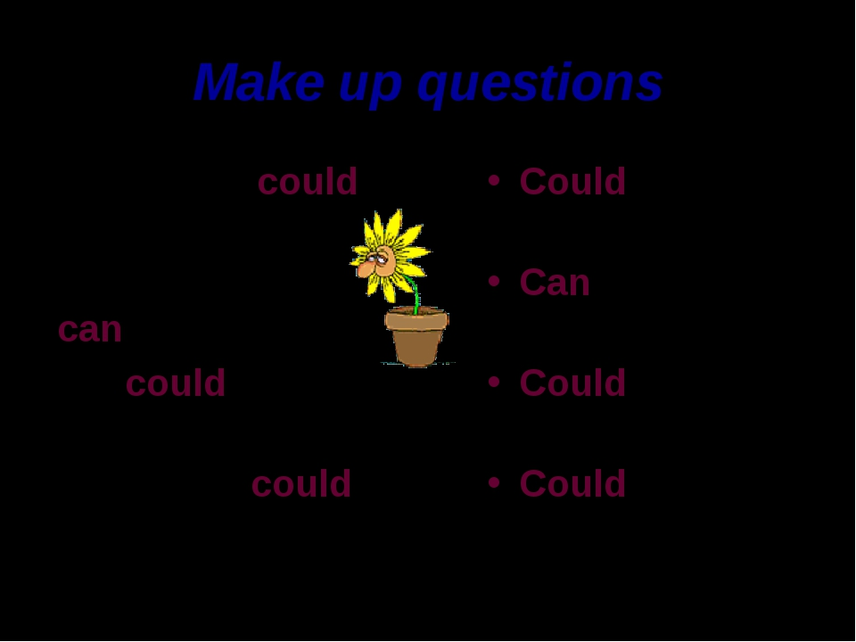 Make up questions My parents could play tennis. My grandfather can drive. We...