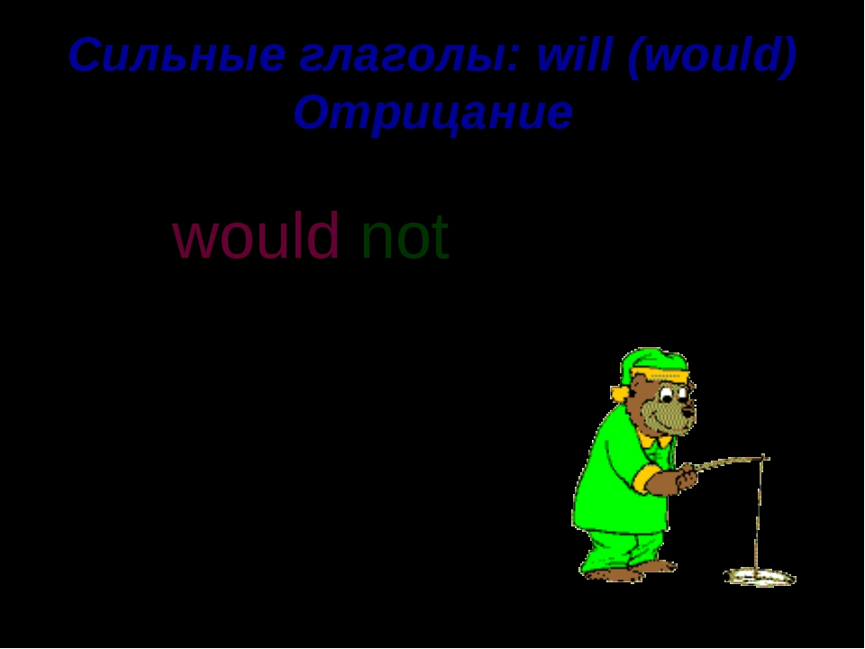 Сильные глаголы: will (would) Отрицание He would like to catch a fish. not wo...