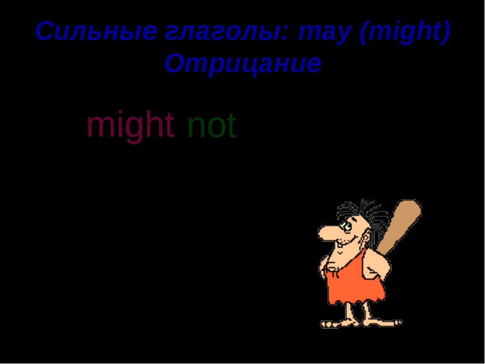 Сильные глаголы: may (might) Отрицание He might have some food. not might n o...