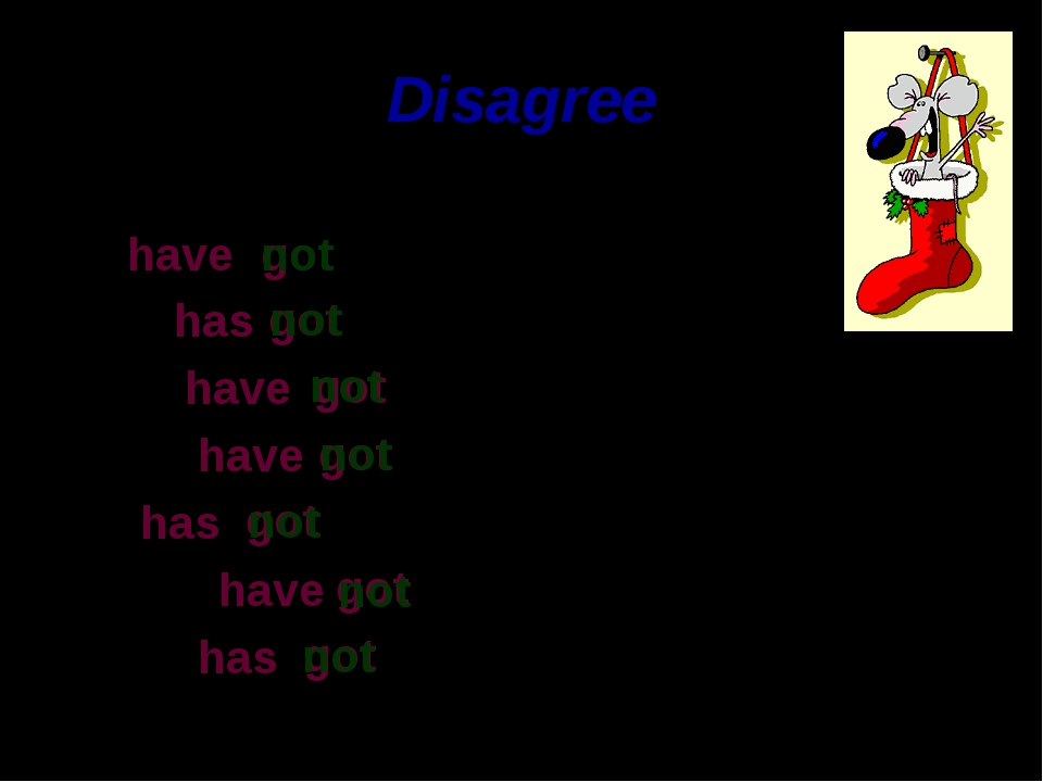 Disagree I have He has We have You have It has They have She has got a map. g...