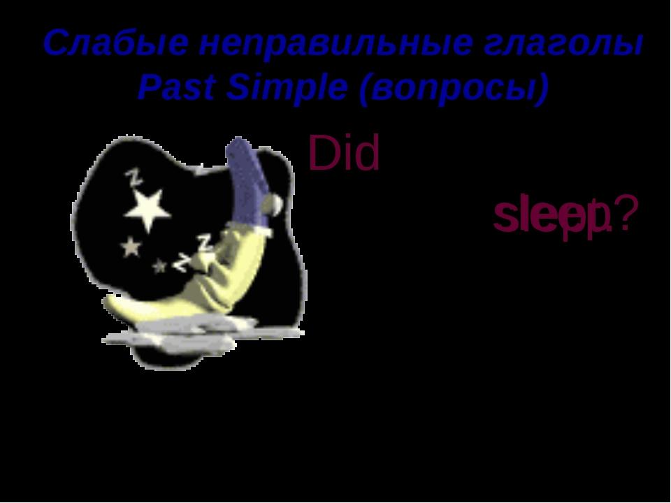 Слабые неправильные глаголы Past Simple (вопросы) he moon T slept. Did t slee...