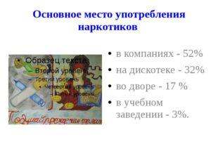 Основное место употребления наркотиков в компаниях - 52% на дискотеке - 32% в