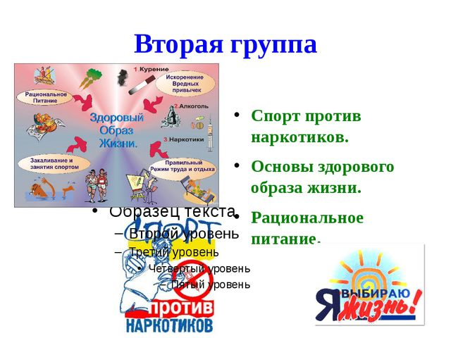 Вторая группа Спорт против наркотиков. Основы здорового образа жизни. Рациона...
