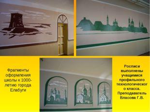 Фрагменты оформления школы к 1000-летию города Елабуги Росписи выполнены учащ