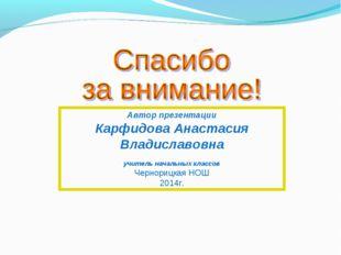 Автор презентации Карфидова Анастасия Владиславовна учитель начальных классов