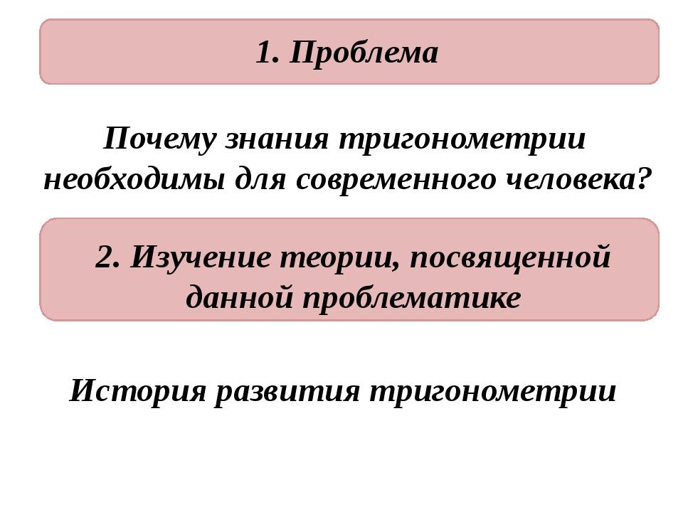 1. Проблема Почему знания тригонометрии необходимы для современного человека...