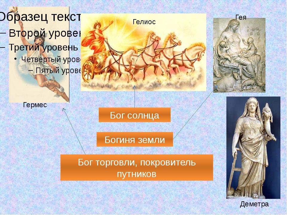 Гермес Гелиос Гея Деметра Бог торговли, покровитель путников Бог солнца Боги...