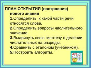ПЛАН ОТКРЫТИЯ (построения) нового знания 1.Определить, к какой части речи отн