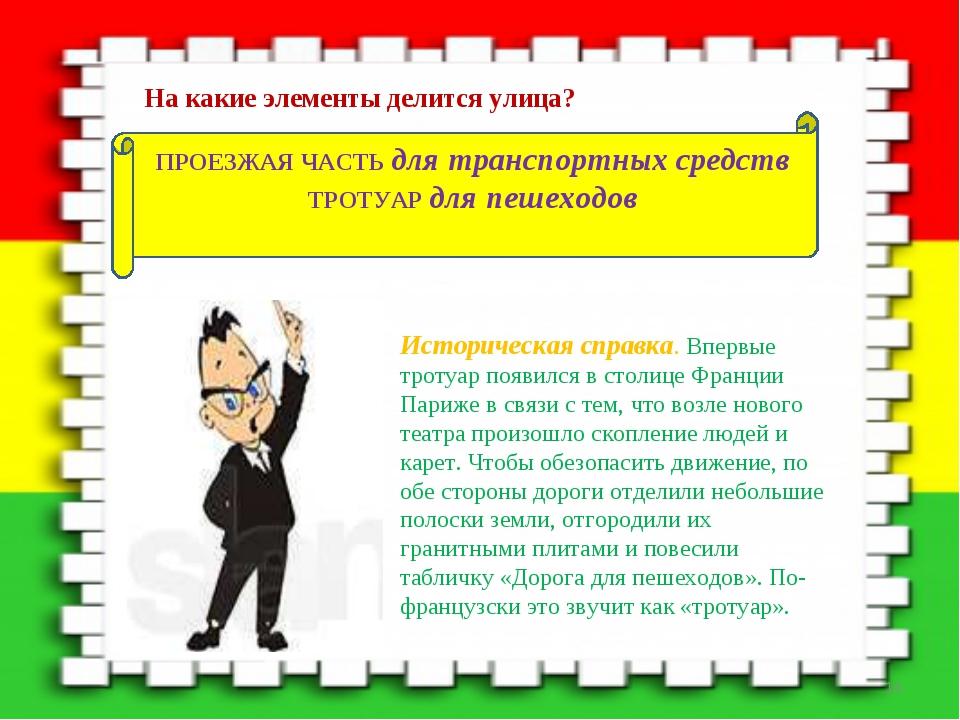 ПРОЕЗЖАЯ ЧАСТЬ для транспортных средств ТРОТУАР для пешеходов Историческая сп...