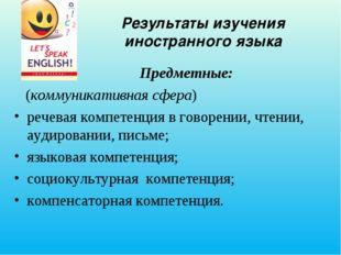 Результаты изучения иностранного языка Предметные: (коммуникативная сфера) ре