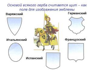 Основой всякого герба считается щит – как поле для изображения эмблемы Варяжс