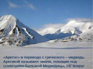 «Арктос» в переводе с греческого – медведь. Арктикой называют земли, лежащие