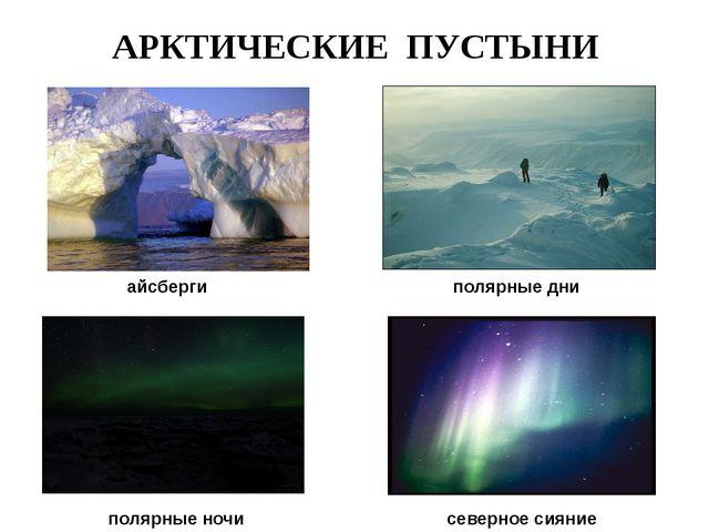 АРКТИЧЕСКИЕ ПУСТЫНИ айсберги полярные дни полярные ночи северное сияние